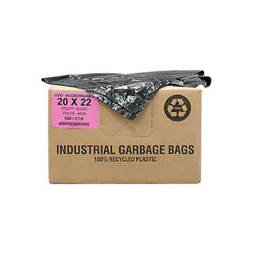 Picture of GARBAGE BAGS BIODEGRADABLE BLACK 20in x 22in UTILITY - 500s