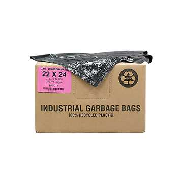 Picture of GARBAGE BAGS BIODEGRADABLE BLACK 22in x 24in REGULAR - 500s