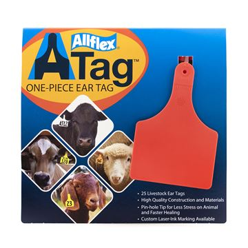 Picture of ALLFLEX  A-TAG COW one piece RED BLANK - 25's