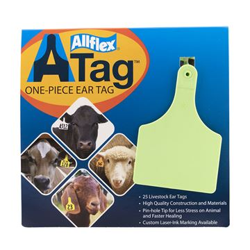 Picture of ALLFLEX  A-TAG COW one piece GREEN BLANK - 25's
