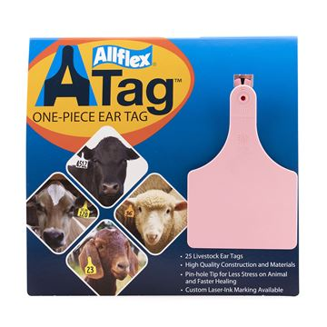 Picture of ALLFLEX  A-TAG COW one piece PINK BLANK - 25's