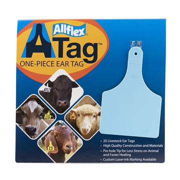 Picture of ALLFLEX  A-TAG COW one piece BLUE BLANK - 25's