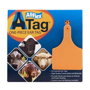 Picture of ALLFLEX  A-TAG COW one piece ORANGE BLANK - 25's
