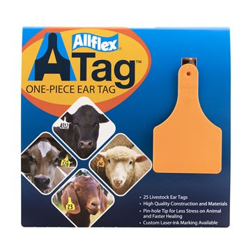 Picture of ALLFLEX  A-TAG CALF one piece ORANGE BLANK - 25's