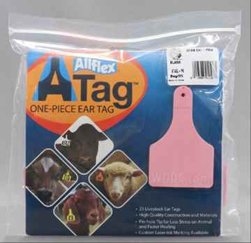 Picture of ALLFLEX  A-TAG CALF one piece PINK BLANK - 25's