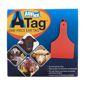 Picture of ALLFLEX  A-TAG CALF one piece RED BLANK - 25's