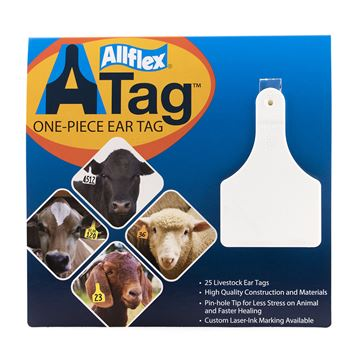 Picture of ALLFLEX  A-TAG CALF one piece WHITE BLANK - 25's