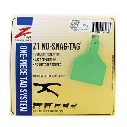 Picture of Z TAG CALF one piece GREEN BLANK - 25's