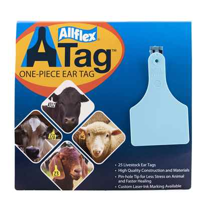 Picture of ALLFLEX  A-TAG CALF one piece BLUE BLANK - 25's