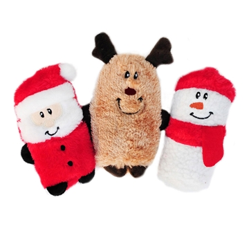 Picture of XMAS HOLIDAY ZIPPY PAWS Holiday Squeakie Buddies - 3/pk(nr)