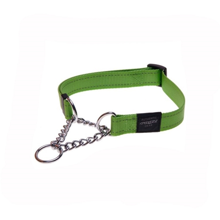 Picture of COLLAR ROGZ FANBELT OBEDIENCE HALF CHECK Lime - 3/4in x 13-22in