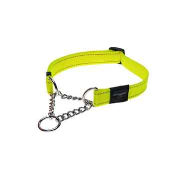 Picture of COLLAR ROGZ LUMBERJACK OBEDIENCE HALF CHECK Dayglo Yellow - 1in x 17(tu)-27in