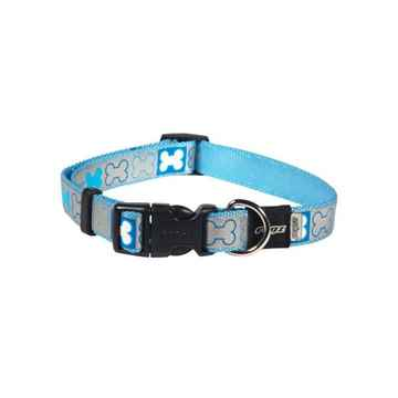 Picture of COLLAR ROGZ REFLECTO Blue with Bones - 1/4in x 5-5.8in