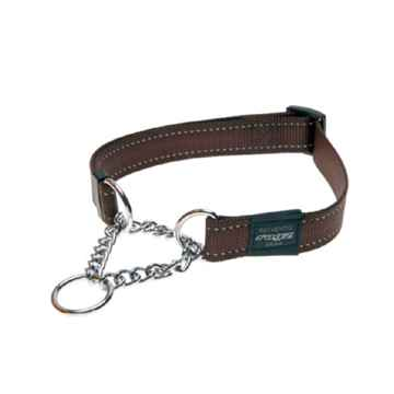 Picture of COLLAR ROGZ LUMBERJACK OBEDIENCE HALF CHECK Chocolate - 1in x 17-27in(tu)