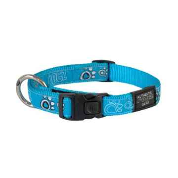 Picture of COLLAR ROGZ FANCY DRESS JELLY BEAN Turquoise Paw - 3/8in x 8-12in(tu)