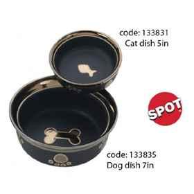 Picture of BOWL STONEWARE Feline Ritz Copper Rim Black - 5in