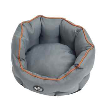 Picture of PET BED Buster Cocoon Style Grey with Brown Piping - 18in
