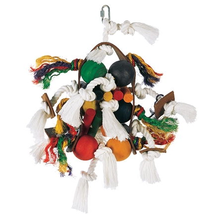 Picture of LIVING WORLD AVIAN  Junglewood Rope & Leather Tabourine with 6 balls (81176)