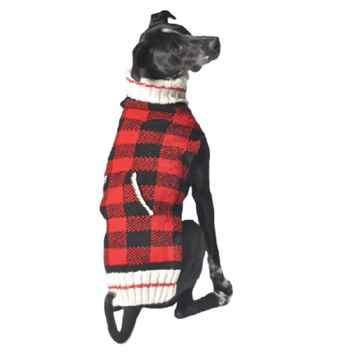 Picture of SWEATER CANINE Chilly Dog Buffalo Plaid Red - X Large