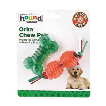 Picture of XMAS HOLIDAY OUTWARD HOUND ORKA CHEW Pair - 6.5in (nr)