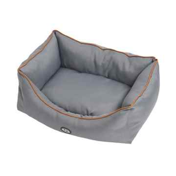 Picture of PET BED Buster Soft Sofa Style Grey with Brown Piping - 28in x 36in