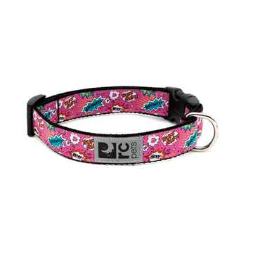Picture of COLLAR RC CLIP Adjustable Comic Sounds Pink - 3/4in x 9-13in
