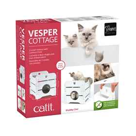 Picture of CAT FURNITURE VESPER COTTAGE 2 LEVEL HIDEOUT - White