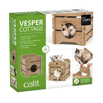 Picture of CAT FURNITURE VESPER COTTAGE 2 LEVEL HIDEOUT - Oak