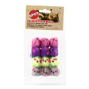 Picture of TOY CAT COLORED FUR MICE - 12/pk