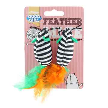 Picture of TOY CAT GOOD GIRL Feather Mice 2in - 2/pk