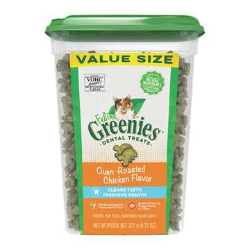Picture of GREENIE FELINE DENTAL TREAT Oven Roasted Chicken - 9.75oz tub