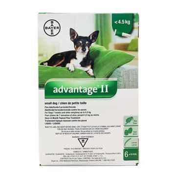 Picture of ADVANTAGE II GREEN 6 x 0.4ml DOGS UNDER 4.5kg - 6's (su10)