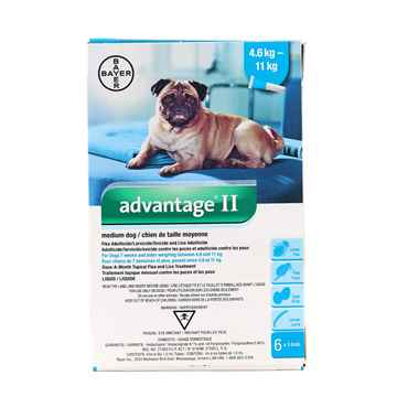 Picture of ADVANTAGE II TEAL 6x1ml DOG 4.6kg - 11kg - 6's (su10)