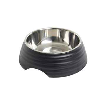 Picture of BOWL BUSTER 2-IN-1 MELAMINE Frosted Ripple Matte Black - 350ml