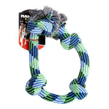 Picture of CHEW ROPE Flossy Chews Braidys Bone with 4 knots - 34in