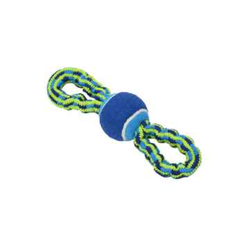 Picture of TOY DOG BUSTER Bungee Rope Double Handle with Tennis Ball Blue/Green