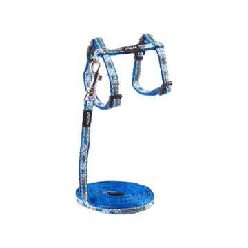 Picture of LEAD AND HARNESS COMBO ROGZ NIGHTCAT Cat - Blue Floral