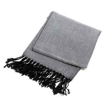 Picture of BACK ON TRACK SCARF DARK GREY w/ BLACK TASSELS