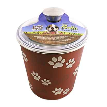 Picture of BELLA BOWL CANISTER with Paws and Bones - Merlot