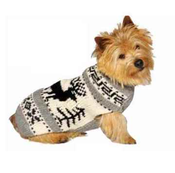 Picture of SWEATER CANINE Chilly Dog - Nordic Reindeer Grey