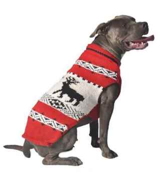 Picture of SWEATER CANINE Chilly Dog - Nordic Reindeer Red