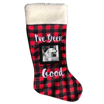 """Picture of XMAS HOLIDAY PICTURE FRAME STOCKING """"I've Been Good"""""""" - 18in"""