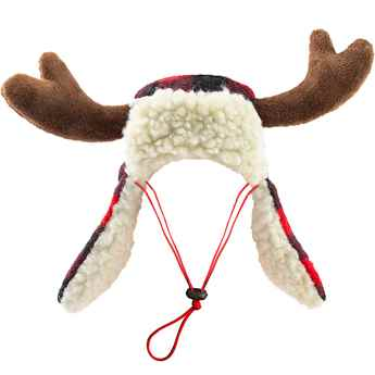 Picture of XMAS HOLIDAY BUFFALO CHECK TRAPPER HAT with ANTLERS - Small