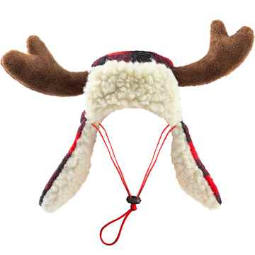Picture of XMAS HOLIDAY BUFFALO CHECK TRAPPER HAT with ANTLERS - Small(nr)
