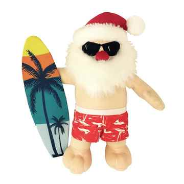 Picture of XMAS HOLIDAY PETLOU Plush Surfing Santa - 13in(nr)