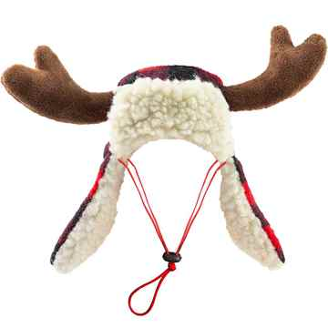 Picture of XMAS HOLIDAY BUFFALO CHECK TRAPPER HAT with ANTLERS (S-L)