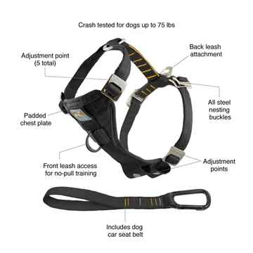 Picture of HARNESS KURGO Enhanced Strength Tru-Fit with Tether Black  - X Large